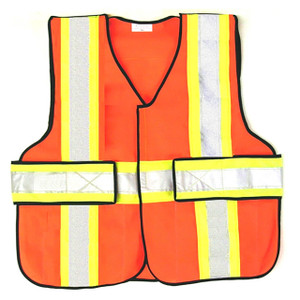 343 Fire V12-E Economy High Contrast FR 5-Point Break-Away Vests, Orange w/Yellow & Silver Striping
