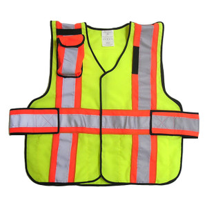 343 Fire V12-P Premium High Contrast FR 5-Point Break-Away Vests, Safety Yellow w/Orange & Silver Striping