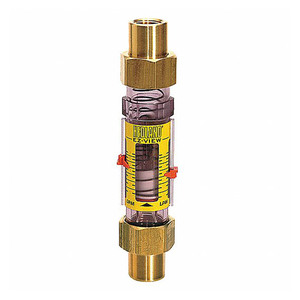 Badger Meter Hedland Variable Area EZ-View Water Flow Meter w/Sensor, 3/4 in./ 1 in. Nominal Swivel Sweat Brass Fitting