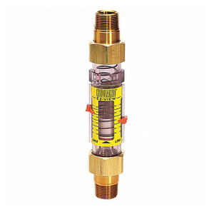 Badger Meter Hedland Variable Area EZ-View Water Flow Meter, Radel Body, 3/4 in. Male NPTF Swivel Brass Fitting, 4 to 28 GPM
