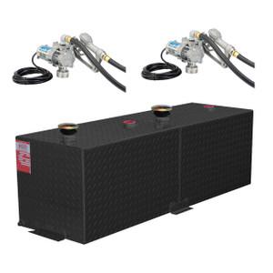 110 Gallon DOT Powder Coated Aluminum Rectangular Split Two Fuel Transfer Tank w/ Two EZ8 Pumps