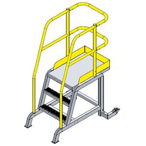 Erectastep TR36 Assembled Roll-A-Step 3 Step Ladder, 24 in. W x 36 in. D Platform