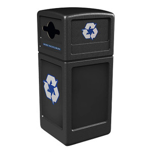 Commercial Zone Polytec™ 42 Gallon Square Recycling Container w/Dome Lid & Mixed-Recycling Opening