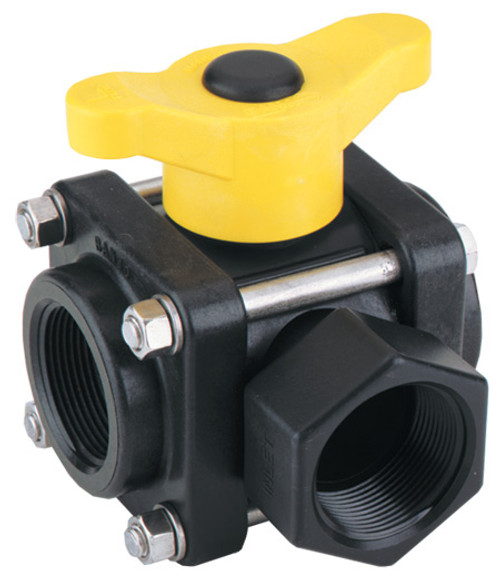 Banjo 1 1/4 in. 3-Way Side Load Poly Valve