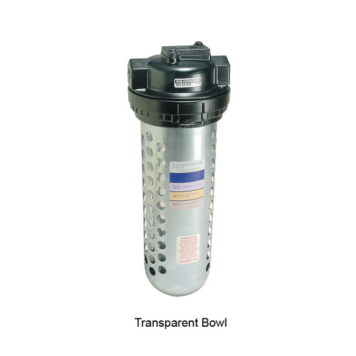 Dixon Wilkerson Manual In-Line Desiccant Dryer 1/4 in. Transparent Bowl, Automatic Drain 10 SCFM