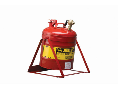 Justrite Laboratory 5 Gal Steel Safety Tilt Gas Can w/ 08540 Faucet (Red)