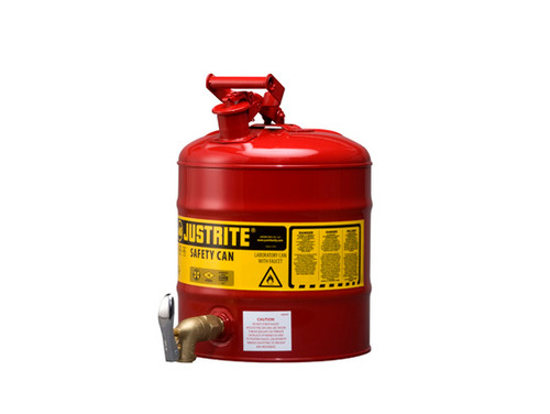 Justrite Laboratory 5 Gal Steel Safety Shelf Gas Can w/ 08902 Faucet (Red)