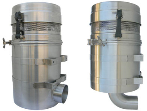 Paragon Stainless Steel Bottom Outlet Blower Filter For Tuthill Blowers T850 / T1050, Vertical Flow, Pressure / Vacuum
