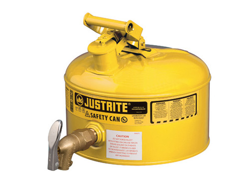 Justrite Laboratory 2.5 Gal Steel Safety Shelf Gas Can w/ 08902 Faucet (Yellow)