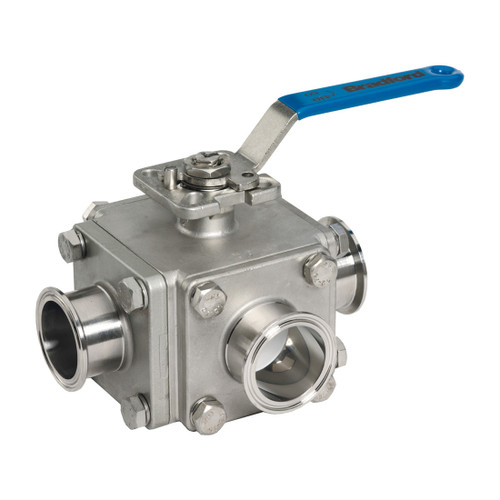 Dixon Sanitary Muti-port 3-way Sanitary Stainless Steel Ball Valves - 1 in. - 'T' Port