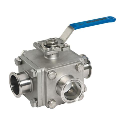 Dixon Sanitary Muti-port 3-way Sanitary Stainless Steel Ball Valves - 2 1/2 in. - 'T' Port