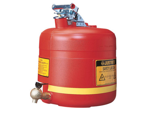 Justrite Nonmetallic Safety Cans For Laboratories - Shelf Can with 08540 Faucet - 5 Gallons - Red