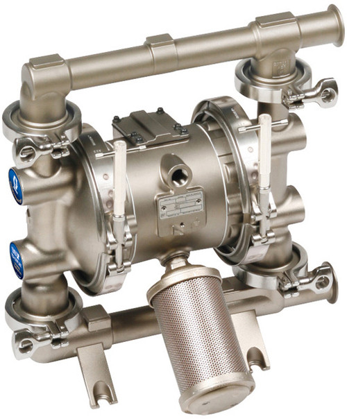 Graco 1040 FDA-Compliant 1 1/2 in. Double Diaphragm Sanitary Pumps w/ PTFE O-Rings & Balls, Overmolded PTFE Diaphragm