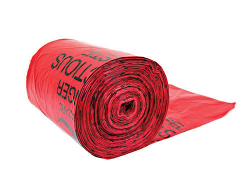 Justrite Biohazard 11 Micron Liner Bags - 100 Bags (Red)