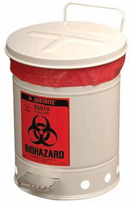 Justrite 05910 Biohazard 6 Gal Waste Can (White)
