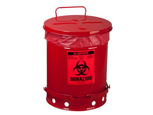 Justrite Biohazard 10 Gal Waste Can (Red)