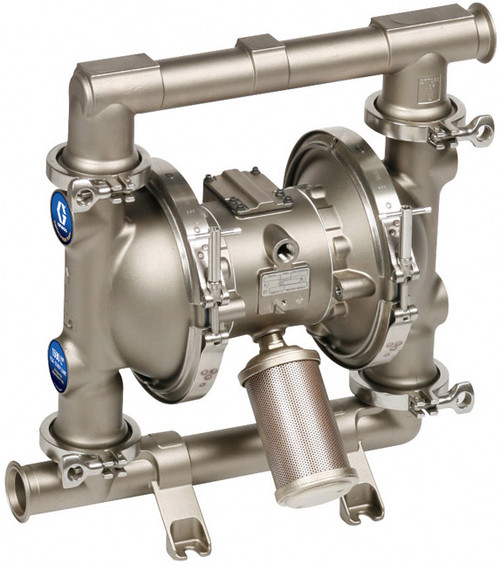 Graco 1590 FDA-Compliant 2 in. Double Diaphragm Sanitary Pumps w/ PTFE O-Rings & Balls, Overmolded PTFE Diaphragm