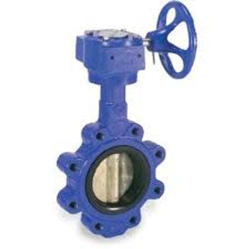 Smith Cooper 0160 Series 8 in. Cast Iron Gear Operated Butterfly Valve w/Nitrile Rubber Seals, Nickle Plated Iron Disc, Lug Style
