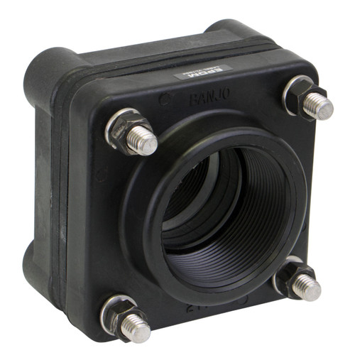 Banjo Poly 2 in. x 2 in. Full Port Threaded Bolted Bottom Drain Tank Flange w/ EPDM Seal