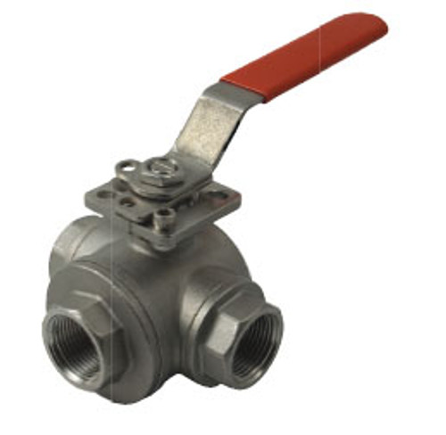 Dixon Sanitary 3-way Industrial Stainless Steel Ball Valve - T Port - 1/4 in.