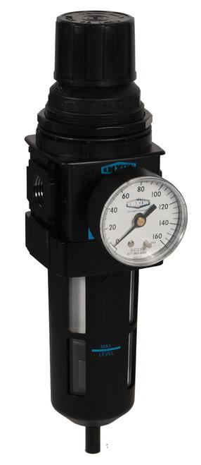Dixon Wilkerson 3/8 in. B28 Standard Filter/Regulator with Transparent Bowl & Guard - Manual Drain