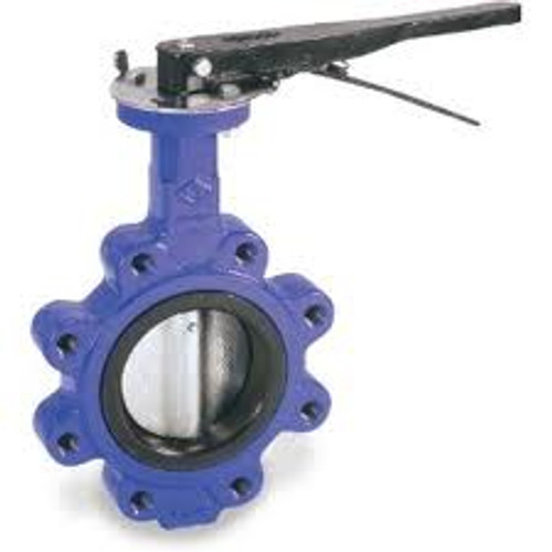 Smith Cooper 0160 Series 8 in. Cast Iron Lever Operated Butterfly Valve w/Nitrile Rubber Seals, Nickle Plated Iron, Lug Style