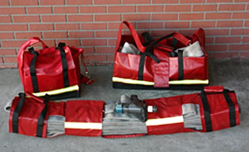 343 Fire HP-400 High Rise Kit of Tool, Hose & Carry Packs, Red
