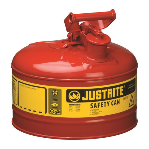 Justrite Type I 2.5 Gal Safety Gas Can (Red)