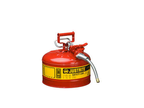 Justrite Type II AccuFlow 2 Gal Safety Gas Can w 5/8 in. Spout (Red)
