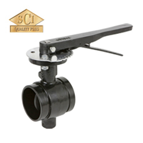 Smith Cooper 3 in. Lever Handle Butterfly Valve w/EPDM Seals & EPDM Coated Disc, Grooved End