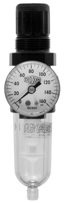 Dixon Combination Mini Filter/Regulator w/Transparent Bowl - 1/8 in. Port, Automatic Drain 13 SCFM
