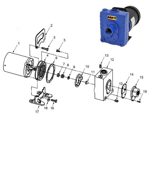 AMT/Gorman Rupp 282 Series Pump Parts - Impeller 3/4HP ODP & 1HP TEFC - 10