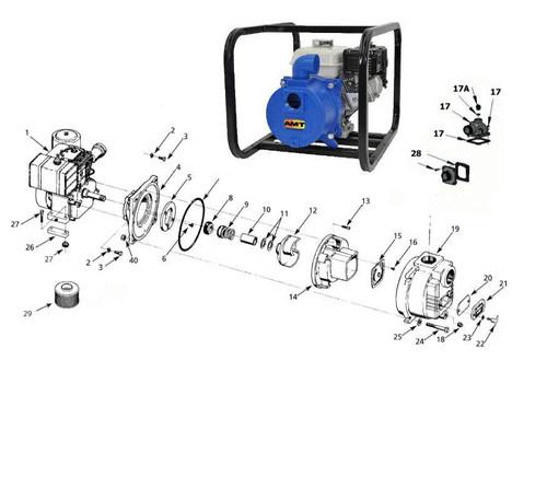 "AMT/Gorman Rupp 394 Series 3"" Trash Pump Parts - Suction Flange Kit - 28"