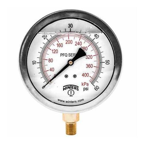 Winters PFQ Series 2 1/2 in. Stainless Steel Liquid Filled Gauge w/ Brass Internals & 1/4 in. Bottom Mount