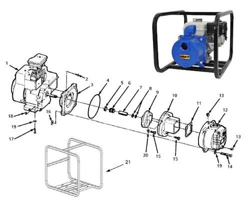 """AMT/Gorman Rupp 316 & 394 Series 1 1/2"""" & 2"""" Trash Pump Parts - Impeller 2"""" Pump - 9"""