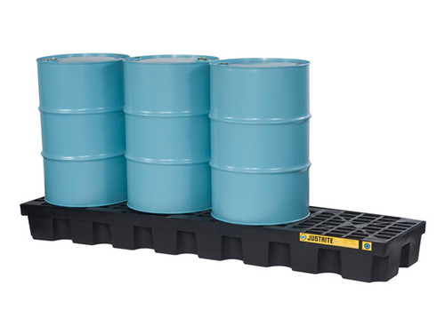 Justrite EcoPolyBlend In-Line Spill Control Pallet 4 Drum with Drain - Black