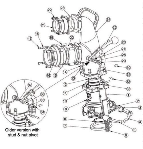 6400 Series Co-axial Drop Elbow Stud Bolt Pivot Kit - 34, 35, 36, 37