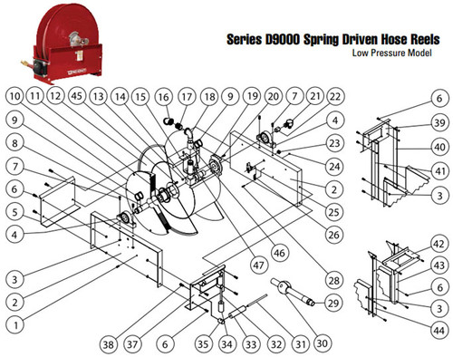 Reelcraft Series 9000 Reels - Replacement Parts - Medium (11) High (11) - Spring Arbor - All - 1
