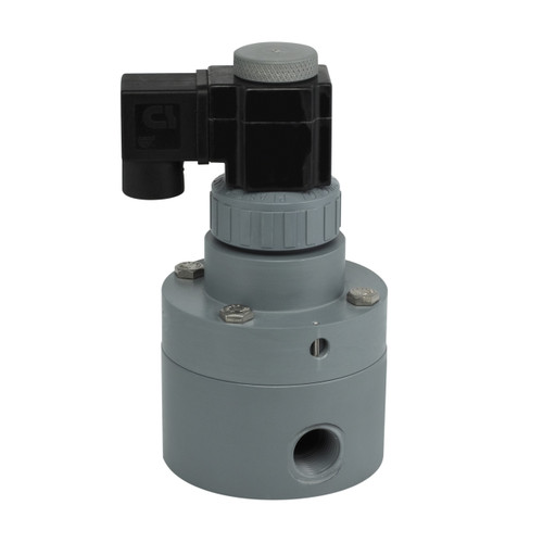 Plast-O-Matic 1/2 in. Series PS  Pilot Operated Solenoid Valve w/ Viton Seal