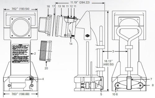 880-455 Series Product Drop Elbow - Left Locking Cam - 8