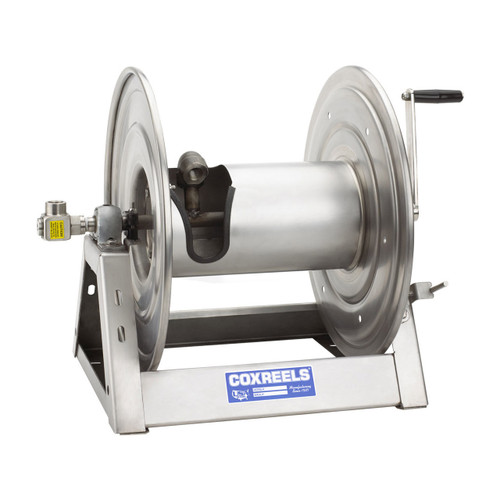 Coxreels 1125 Series Unpolished Stainless Steel Hand Crank Hose Reels - Reel Only - 1/2 in. x 200 ft.
