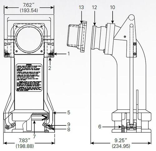 880-465 Dual Point Vapor Recovery Elbow - Locking Cam - 8