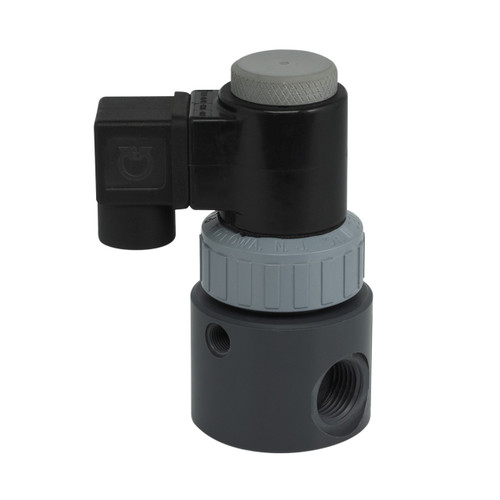 Plast-O-Matic Series EAST 1/2 in. Compact PTFE Bellows Solenoid Valves w/ Viton Seals - 3/16 in. Orifice