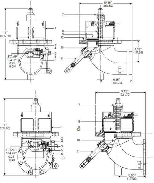 "880-430 & 880-431 Emergency Valve Parts - Flanged 4"" Body - 1"