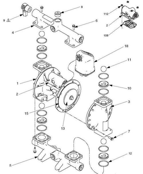 PTFE/EPDM 2 Piece Diaphragm Kit for Graco 1050 Diaphragm Pumps - 15