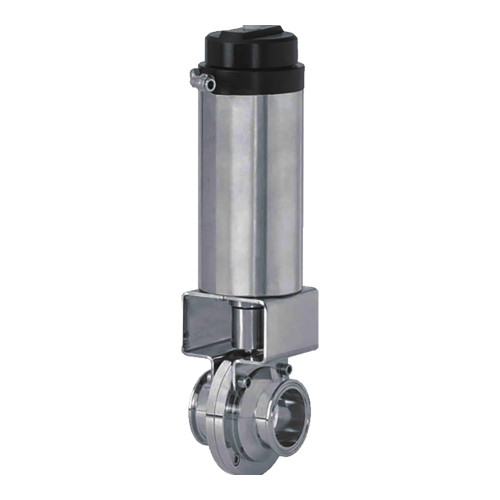 Cipriani Harrison Valves Corp. 100 Series 304 SS Pneumatic Actuated Butterfly Valve w/Silicone Seals & SS Disc, Clamp End