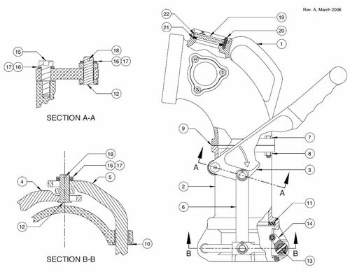 60TTF Product Drop Elbow Parts - Handle/Linkage Kit - 3, 4, 5, 12, 13, 15-18