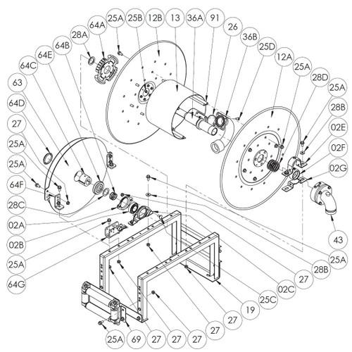 900 Series Spring Rewind Reel Parts - B Spring with Arbor - 63, 64C