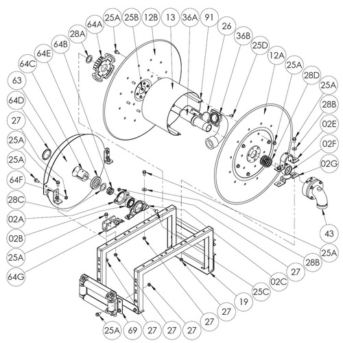 900 Series Spring Rewind Reel Parts - Ratchet Wheel - 64A