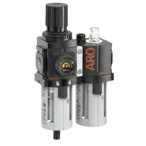 ARO 1500 Series 1/4 in. 3-Piece Combination Filter Regulator + Lubricator w/ Poly Bowl & Manual Drain